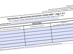 Provisional patent application form and strategy